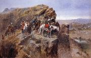 Indians on a Bluff Surverying General Miles-Troops